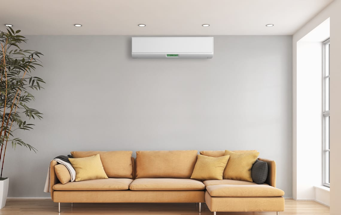 Ductless Mini Split Above Sectional Sofa
